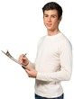 young teen with a clipboard