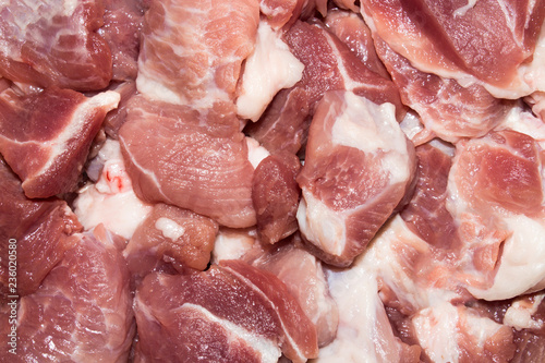 Background of raw meat pieces.Meat for barbecue. - 236020580