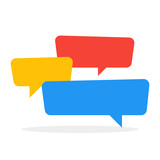 Chat icon color speech bubbles in conversation. Vector illustration
