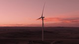 Aerial shots of a wind farm near Calhan in Colorado around sunset - 236021731