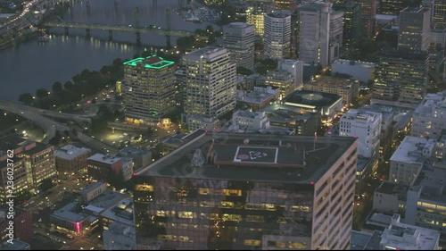 Portland City Oregon USA aerial view