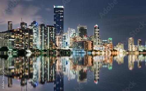 Miami Skyline reflection at Night Across Biscayne Bay