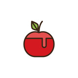 Honey apple filled outline icon, line vector sign, linear colorful pictogram isolated on white. Rosh Hashanah symbol, logo illustration. Pixel perfect vector graphics