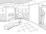 Shopping mall graphic black white interior sketch illustration vector - 236035159