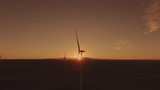 Aerial shots of a wind farm near Calhan in Colorado around sunset - 236035997