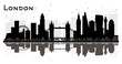 London England City Skyline Silhouette with Black Buildings Isolated on White Background. - 236038794