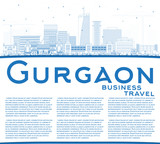 Outline Gurgaon India City Skyline with Blue Buildings and Copy Space.