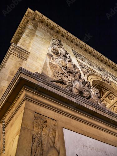 fototapeta na ścianę PARIS, FRANCE, on OCTOBER 26, 2018. Typical urban view. Gate Saint Martin (La Porte St-Martin) - one of triumphal arches in the city