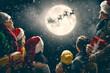 Leinwanddruck Bild - Family enjoying Christmas