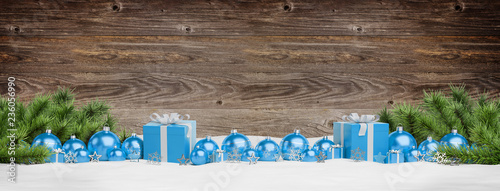 Leinwandbild Motiv Blue christmas baubles and gifts lined up 3D rendering