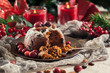 Christmas fruit pudding on a plate