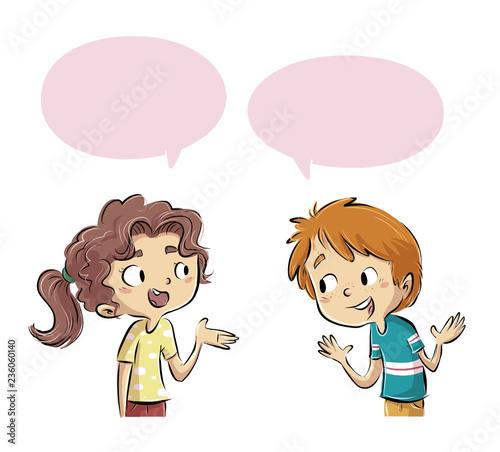 Leinwandbild Motiv niños hablando