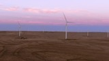 Aerial shots of a wind farm near Calhan in Colorado around sunset - 236064792