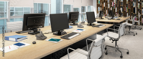 Computer Workplace Inside a Business Center - panoramic 3d visualization