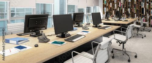 Komputerowe miejsce pracy wewnątrz centrum biznesowego - panoramiczna wizualizacja 3D