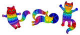 Set of stained glass elements with rainbow cats , isolated images on white background