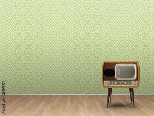 3d illustration rendering of retro radio and television on parquet floor and green decorated wallpaper background - 236078771
