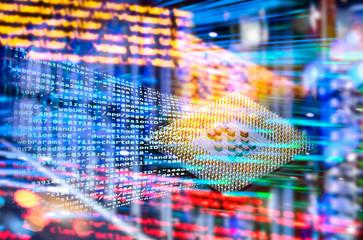 Abstrakter Technologie Hintergrund mit Prozessor