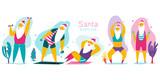 Santa Claus doing fitness exercises with dumbbells. Cute cartoon vector Christmas character set isolated on a white background. Healthy lifestyle and sport illustration.
