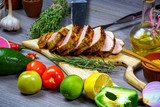 Border of grilled meat with vegetables on rustic table with copy space, top view. cooking recipe - 236095568
