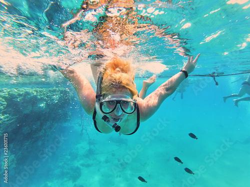 woman snorkeling in the sea