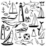 Hand drawn nautical icon set.Vector sketch  illustration.