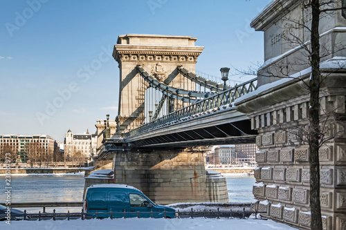 Chain bridge in Budapest, Hungary at winter