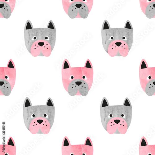 fototapeta na ścianę Seamless cute dog pattern. Vector background with watercolor bulldogs