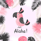 Summer tropical vector illustration with watercolor cute parrot and palm leaves. - 236110318