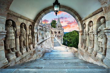 Fisherman's Bastion, popular tourist attraction in Budapest, Hungary