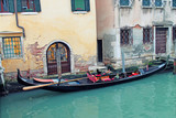 Traditional view of Venice. Gondola along canal. Venice. Italy