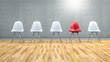 Stühle in einer Reihe - Konzept Vergleich, Unterschiede, Außenseiter