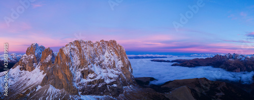 Beautiful Dolomites peaks panoramic view
