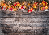 Christmas rustic background with wooden planks - 236140312