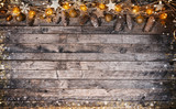 Christmas rustic background with wooden planks - 236140366