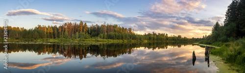 панорама летнего вечернего пейзажа на Уральском озере с соснами на берегу, Россия, август - 236141712