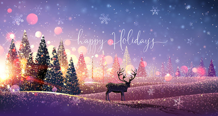 Christmas Card with Reindeer, Winter Sunny Landscape. Vector