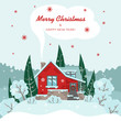 Vector Christmas card with a house, trees, Christmas trees and bushes in flat style