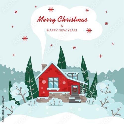 Wektor kartki świąteczne z domu, drzew, choinek i krzewów w stylu płaski