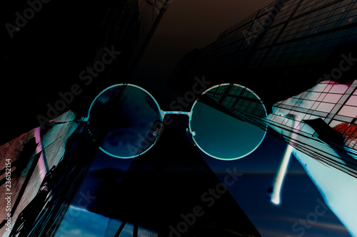 Abstract background of round glasses - 236152154