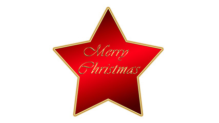 Big Christmas red star with merry christmas written