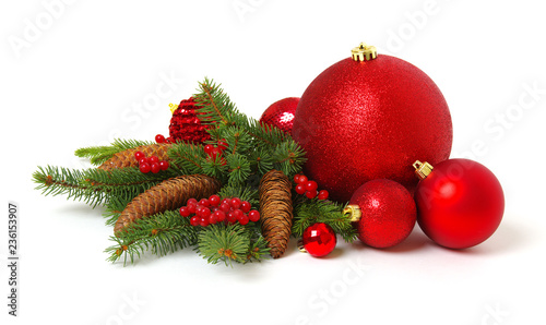 Leinwanddruck Bild Christmas decoration baubles with branches of fir tree