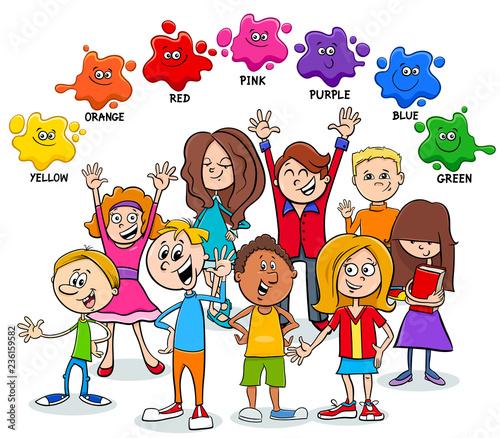 strona edukacyjna o podstawowych kolorach z dziećmi