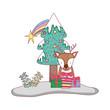 merry christmas tree with reindeer
