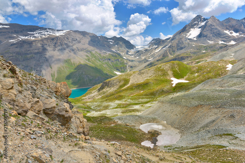 view on a little blue lake in beautiful alpine mountains