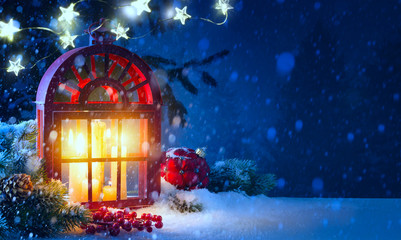 Christmas midnight Light; holidays background with Christmas decoration and Christmas Tree light