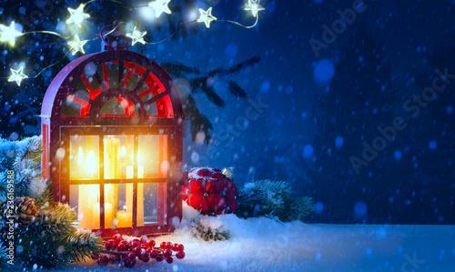 Christmas midnight Light; holidays background with Christmas decoration and Christmas Tree light - 236169588