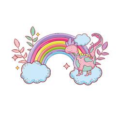 fairytale dinosaur with rainbow in cloud © Stockgiu