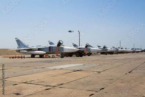fototapeta na ścianę Military jet fighter ready to fly