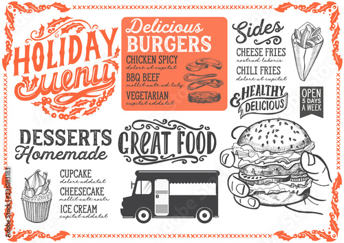 Christmas menu template for food truck. - 236183183